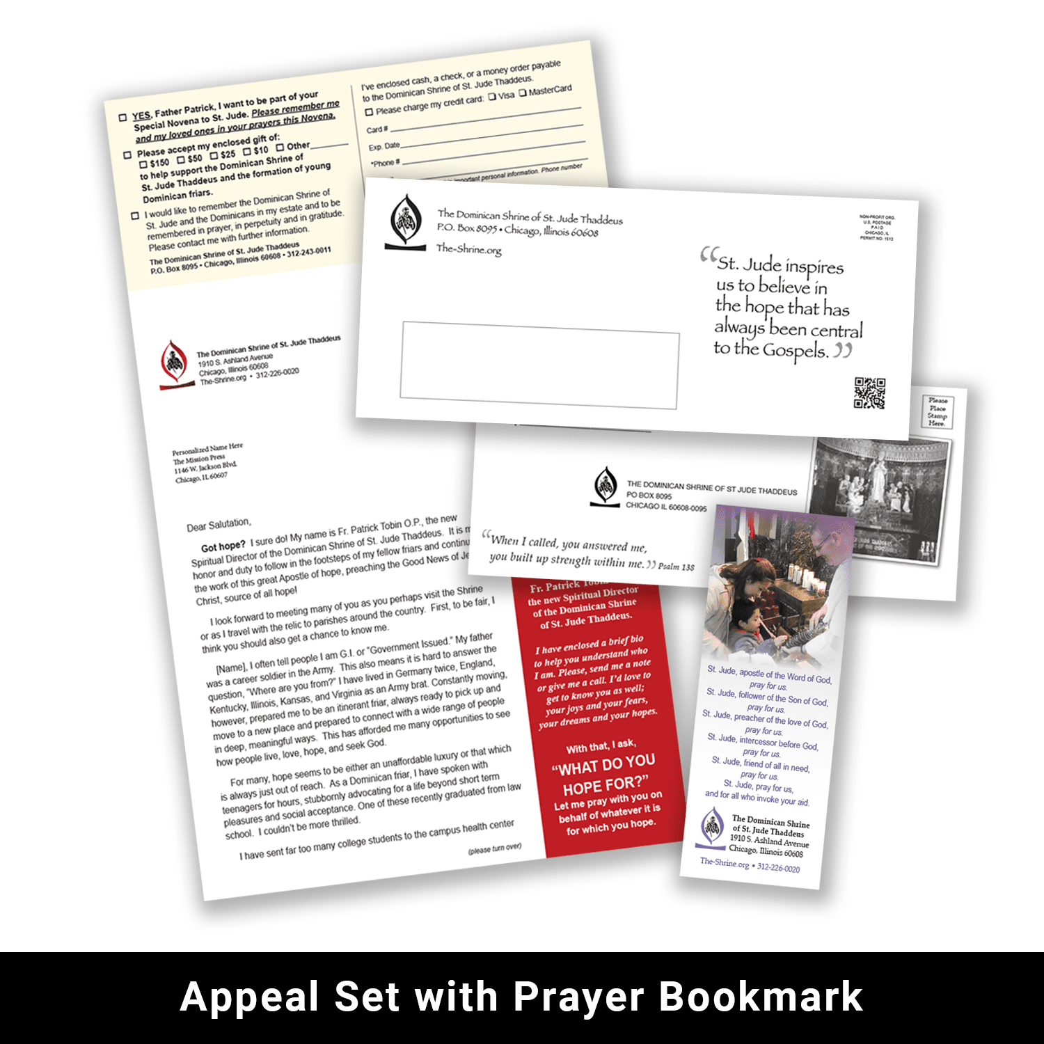 Print appeal set with prayer bookmark example